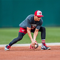 15 August 2017: Washington Nationals shortstop Trea Turner fields practice grounders prior to a game against the Los Angeles Angels at Nationals Park in Washington, DC. The Nationals defeated the Angels 3-1 in the first game of their 2-game series. Mandatory Credit: Ed Wolfstein Photo *** RAW (NEF) Image File Available ***