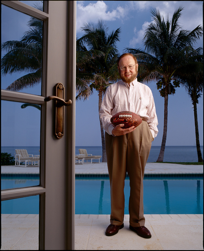 Malcolm Glazer, owner of the NFL Tampa Bucaneers and Manchester United football teams, is photographed at his Palm Beach, Florida home