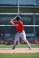 Boston Red Sox Derek Miller (47) bats during a minor league Spring Training game against the Baltimore Orioles on March 16, 2017 at the Buck O'Neil Baseball Complex in Sarasota, Florida. (Mike Janes/Four Seam Images)
