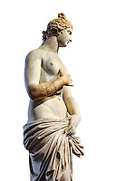 Roman Statue of Venus (Aphrodite), a 2nd - 3rd century AD marble statue from Italy.  This Roman statue of Aphrodite is the result of a fit between the bottom of an ancient body, a torso of the XVI century and an ancient face and top of head. The statue follows the style of a modest Aphrodite, known by other Roman replicas are copies of 3rd century BC Hellanistic Greek statues now lost.<br /> Borghese collection, Inv No. MR. 279 (Usual No Ma 369), Louvre Museum, Paris.