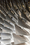 July 6, 2016. Greenville, South Carolina. <br /> Fan blades on a GE gas turbine. <br />  At the General Electric Gas Turbine factory, engineers  design, produce, test and repair gas turbines for generating electricity. These turbines weigh more than 900,000 pounds and can create internal combustion temperatures up to 2,900 degrees F. Depending on the model, one of the GE turbines can produce enough electricity for half a million American households.