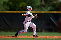 Dartmouth Big Green second baseman Sean Sullivan (4) throws to first base during a game against the Villanova Wildcats on March 3, 2018 at North Charlotte Regional Park in Port Charlotte, Florida.  Dartmouth defeated Villanova 12-7.  (Mike Janes/Four Seam Images)