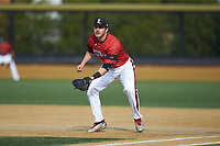 Louisville Cardinals first baseman Logan Wyatt (43) on defense against the Wake Forest Demon Deacons at David F. Couch Ballpark on March 17, 2018 in  Winston-Salem, North Carolina.  The Cardinals defeated the Demon Deacons 11-6.  (Brian Westerholt/Four Seam Images)