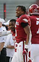 Arkansas running back Rakeem Boyd (5) reacts, Saturday, October 17, 2020 during the fourth quarter of a football game at Donald W. Reynolds Razorback Stadium in Fayetteville. Check out nwaonline.com/201018Daily/ for today's photo gallery. <br /> (NWA Democrat-Gazette/Charlie Kaijo)