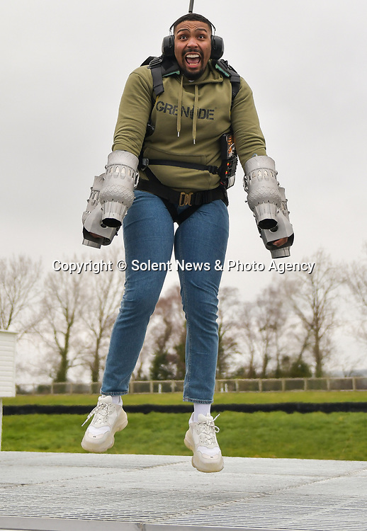 "Pictured: Member of dance troupe Diversity, Jordan Banjo testing out the Gravity jet suit at Goodwood Aerodrome. <br /> <br /> Dance troupe Diversity, known for flying through the air in their stage performances, today took to the air outside - with jetpacks strapped to their hands.  Diversity members including founder Ashley Banjo, Jordan Banjo and Perri Kiely, donned Gravity Industries' cutting edge human-flight suit and took to the skies powered by Grenade Energy.<br /> <br /> Ashley, 32, said: ""Ahead of the day we were certain Pel would smash it, he's annoyingly very good at pretty much everything he puts his energy into.  SEE OUR COPY FOR DETAILS.<br /> <br /> © Solent News & Photo Agency<br /> UK +44 (0) 2380 458800"