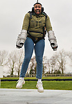 """Pictured: Member of dance troupe Diversity, Jordan Banjo testing out the Gravity jet suit at Goodwood Aerodrome. <br /> <br /> Dance troupe Diversity, known for flying through the air in their stage performances, today took to the air outside - with jetpacks strapped to their hands.  Diversity members including founder Ashley Banjo, Jordan Banjo and Perri Kiely, donned Gravity Industries' cutting edge human-flight suit and took to the skies powered by Grenade Energy.<br /> <br /> Ashley, 32, said: """"Ahead of the day we were certain Pel would smash it, he's annoyingly very good at pretty much everything he puts his energy into.  SEE OUR COPY FOR DETAILS.<br /> <br /> © Solent News & Photo Agency<br /> UK +44 (0) 2380 458800"""