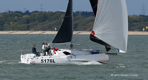 Kelvin Rawlings' Sun Fast 3300 Aries training in The Solent. Photo: John Green Cowes