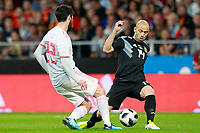 Spain's Isco Alarcon (l) and Argentina's Javier Mascherano during international friendly match. March 27,2018.(ALTERPHOTOS/Acero) /NortePhoto.com NORTEPHOTOMEXICO