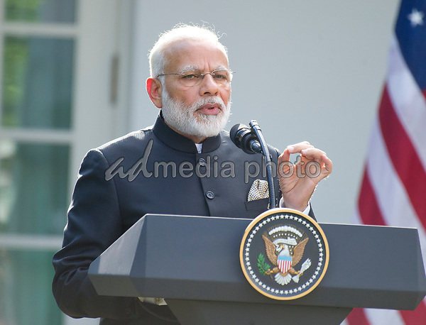 Prime Minister Narendra Modi of India delivers a joint statement with United States President Donald J. Trump in the Rose Garden of the White House in Washington, DC on Monday, June 26, 2017. Photo Credit: Ron Sachs/CNP/AdMedia