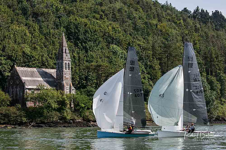 In very strong tide, the National 18s found it hard to keep spinnakers filled at East Ferry