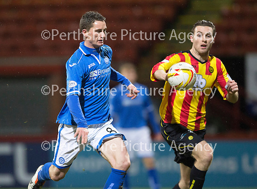 Partick Thistle v St Johnstone....21.01.14   SPFL<br /> Gary McDonald puts the ball in the back of the net, but was ruled offside<br /> Picture by Graeme Hart.<br /> Copyright Perthshire Picture Agency<br /> Tel: 01738 623350  Mobile: 07990 594431