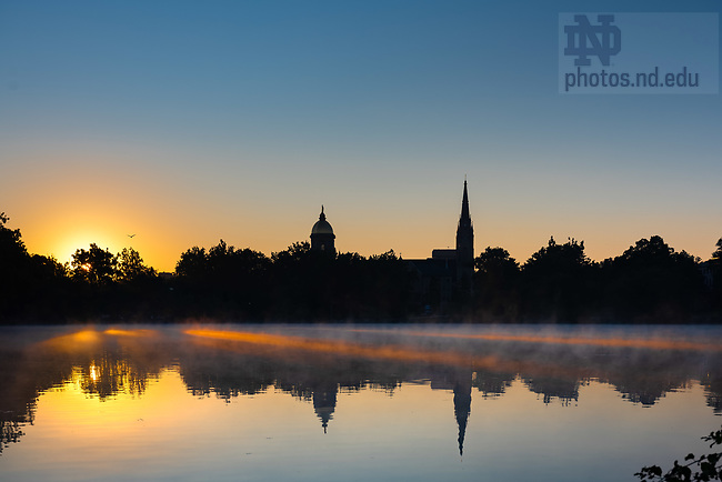 August 7, 2020; Daybreak over St. Mary's Lake (Photo by Matt Cashore/University of Notre Dame)