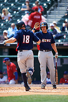 Toledo Mudhens Chad Huffman (17) high fives Tyler Collins (18) after a home run during a game against the Buffalo Bisons on May 18, 2016 at Coca-Cola Field in Buffalo, New York.  Buffalo defeated Toledo 7-5.  (Mike Janes/Four Seam Images)