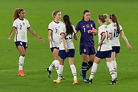 ORLANDO CITY, FL - FEBRUARY 18: Alyssa Naeher #1 celebrates a victory with teammates during a game between Canada and USWNT at Exploria stadium on February 18, 2021 in Orlando City, Florida.