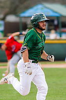 Beloit Snappers second baseman Nate Mondou (10) races to first base during a Midwest League game against the Peoria Chiefs on April 15, 2017 at Pohlman Field in Beloit, Wisconsin.  Beloit defeated Peoria 12-0. (Brad Krause/Four Seam Images)