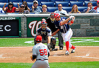 4 July 2009: Washington Nationals' third baseman Ryan Zimmerman hits a 2 RBI single to tie the game in the 8th inning against the Atlanta Braves at Nationals Park in Washington, DC. The Nationals rallied with 4 runs in the 8th to defeat the Braves 5-3 and take the second game of the 3-game weekend series. Mandatory Credit: Ed Wolfstein Photo