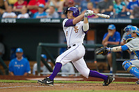 LSU Tigers first baseman Mason Katz #8 hits a home run during Game 4 of the 2013 Men's College World Series between the LSU Tigers and UCLA Bruins at TD Ameritrade Park on June 16, 2013 in Omaha, Nebraska. The Bruins defeated the Tigers 2-1. (Brace Hemmelgarn/Four Seam Images)