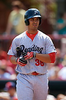 Reading Fightin Phils first baseman Harold Martinez (38) at bat during a game against the Erie SeaWolves on May 18, 2017 at UPMC Park in Erie, Pennsylvania.  Reading defeated Erie 8-3.  (Mike Janes/Four Seam Images)