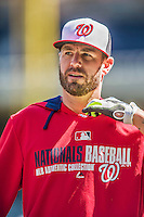 6 April 2014: Washington Nationals outfielder Kevin Frandsen awaits his turn in the batting cage prior to a game against the Atlanta Braves at Nationals Park in Washington, DC. The Nationals defeated the Braves 2-1 to salvage the last game of their 3-game series. Mandatory Credit: Ed Wolfstein Photo *** RAW (NEF) Image File Available ***