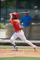 GCL Phillies East center fielder Julio Francisco (17) follows through on a swing during a game against the GCL Blue Jays on August 10, 2018 at Carpenter Complex in Clearwater, Florida.  GCL Blue Jays defeated GCL Phillies East 8-3.  (Mike Janes/Four Seam Images)