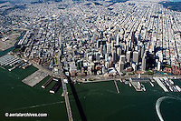 aerial photograph Bay bridge waterfront San Francisco, California