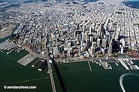 aerial photograph Bay bridge waterfront San Francisco, California