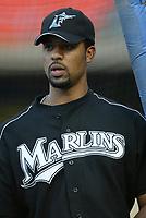 Derrek Lee of the Florida Marlins during a 2003 season MLB game at Dodger Stadium in Los Angeles, California. (Larry Goren/Four Seam Images)
