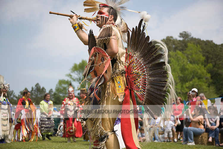 Native Americans dance in full traditional regalia at the 8th Annual Red Wing PowWow in Red Wing Park, Virginia Beach, Virginia.