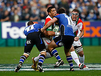 Photo: Richard Lane/Richard Lane Photography. Bath Rugby v Biarritz Olympique. Heineken Cup. 10/10/2010. Biarritz' Raphael Lakafia attacks the Bath' defence.