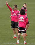 Real Madrid's Lucas Silva, Marcelo Vieira and Karim Benzema during training session.January 30,2015.(ALTERPHOTOS/Acero)