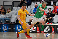 Nick Carrick of Central and Reid Hullemkeman of Southern during the Men's Futsal SuperLeague, Central Futsal v Southern United Futsal at ASB Sports Centre, Wellington on Saturday 31 October 2020.<br /> Copyright photo: Masanori Udagawa /  www.photosp ort.nz