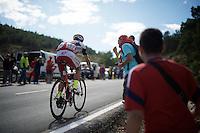 Eduard Vorganov (RUS/Team Katusha) up the Puerto de la Morcuera (1770m/6,6%/10.4km) <br /> <br /> stage 20: San Lorenzo de el Escorial - Cercedilla (176km)<br /> 2015 Vuelta à Espana