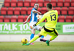 St Johnstone v Hearts 17.05.17     SPFL    McDiarmid Park<br />Chris Kane puts the ball past Viktor Noring to make it 1-0 <br />Picture by Graeme Hart.<br />Copyright Perthshire Picture Agency<br />Tel: 01738 623350  Mobile: 07990 594431