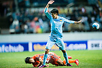 Jiangsu FC Midfielder Tao Yuan (R) gestures while fights for the ball with Jeju United FC Defender Chung Woon (L) during the AFC Champions League 2017 Group H match between Jeju United FC (KOR) vs Jiangsu FC (CHN) at the Jeju World Cup Stadium on 22 February 2017 in Jeju, South Korea. Photo by Marcio Rodrigo Machado / Power Sport Images