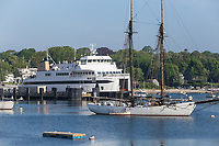 A Steamship Authority ferry waits to depart from Vineyard Haven on Martha's Vineyard for the trip back to Woods Hole on the mainland.