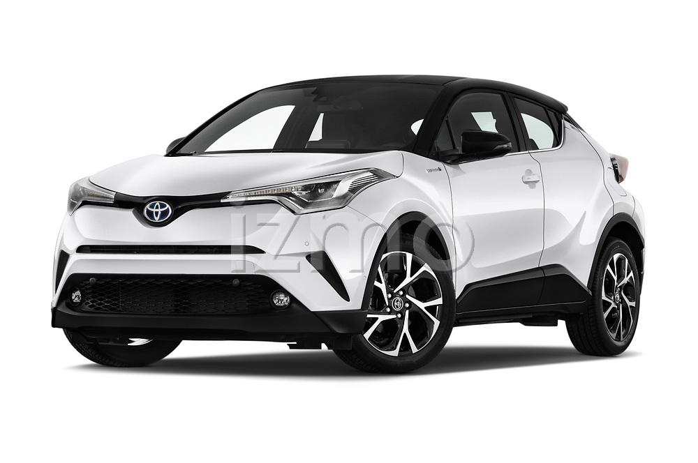 Stock pictures of low aggressive front three quarter view of a 2018 Toyota C-HR C-LUB hybrid 5 Door SUV