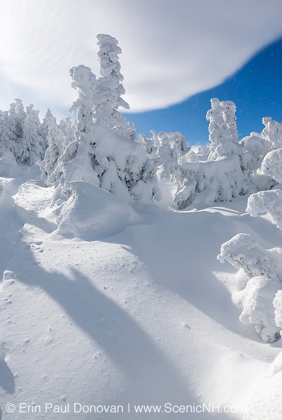 Appalachian Trail - Scenic views from the summit of Carter Dome in winter conditions in the White Mountains of New Hampshire.