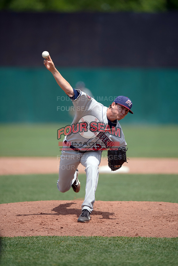 Mahoning Valley Scrappers relief pitcher Riley Echols (35) delivers a pitch during the first game of a doubleheader against the Auburn Doubledays on July 2, 2017 at Falcon Park in Auburn, New York.  Mahoning Valley defeated Auburn 3-0.  (Mike Janes/Four Seam Images)