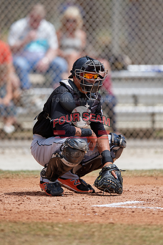Miami Marlins catcher Rodrigo Vigil (46) during a minor league Spring Training game against the New York Mets on March 26, 2017 at the Roger Dean Stadium Complex in Jupiter, Florida.  (Mike Janes/Four Seam Images)