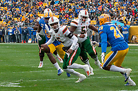 Miami Hurricanes quarterback N'Kosi Perry scrambles. The Miami Hurricanes football team defeated the Pitt Panthers 16-12 in a game at Heinz Field, Pittsburgh, Pennsylvania on October 26, 2019.