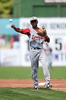 Lowell Spinners second baseman Raymel Flores (11) throws to first during a game against the Batavia Muckdogs on July 17, 2014 at Dwyer Stadium in Batavia, New York.  Batavia defeated Lowell 4-3.  (Mike Janes/Four Seam Images)
