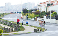 28 APR 2012 - LES SABLES D'OLONNE, FRA - Linda Guinoiseau (right) leads the Issy Triathlon team on the bike during the women's French Grand Prix Series triathlon prologue round in Les Sables d'Olonne, France (PHOTO (C) 2012 NIGEL FARROW)