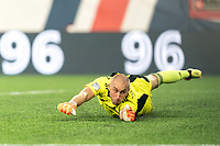 FOXBOROUGH, MA - JULY 25: Brad Knighton #18 of New England Revolution dive during a game between CF Montreal and New England Revolution at Gillette Stadium on July 25, 2021 in Foxborough, Massachusetts.