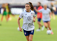 HOUSTON, TX - JUNE 10: Kelley O'Hara #5 of the United States warms up before a game between Portugal and USWNT at BBVA Stadium on June 10, 2021 in Houston, Texas.