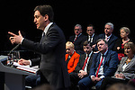 © Joel Goodman - 07973 332324 . 13/04/2015 . Manchester , UK . Members of the Shadow Cabinet listen as Labour Party leader Ed Miliband launches the Labour Party manifesto ahead of the General Election at the Old Granada Studios in Manchester , UK . Photo credit : Joel Goodman