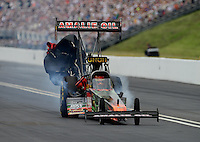 Jun. 17, 2012; Bristol, TN, USA: NHRA top fuel dragster driver Terry McMillen during the Thunder Valley Nationals at Bristol Dragway. Mandatory Credit: Mark J. Rebilas-