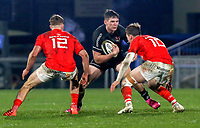 12 December 2020; Hayden Hyde of Ulster is tackled by Jake Flannery of Munster during the A series inter-pros series 20-21 between Ulster A and Munster A at Kingspan Stadium, Ravenhill Park, Belfast, Northern Ireland. Photo by John Dickson/Dicksondigital