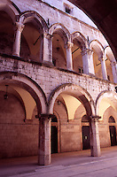 Croatia. Dubrovnik Old City. Interior of the Sponza Palace. Courtyard and Loggias.