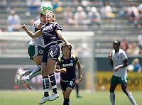 LA Sol midfielder Aly Wagner applies her head to a ball. The St. Louis Athletica defeated the LA Sol 1-0 at Home Depot Center stadium in Carson, California Wednesday afternoon July 8, 2009. .