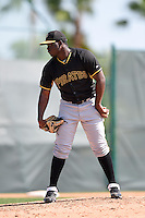 Pittsburgh Pirates pitcher Cecilio Pimentel (89) during a minor league spring training game against the New York Yankees on March 22, 2014 at Pirate City in Bradenton, Florida.  (Mike Janes/Four Seam Images)